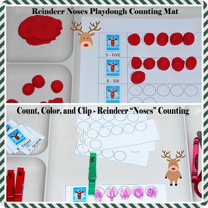 Reindeer Noses Playdough Math Mats for Preschool: 1-to-1 Correspondence - The Preschool Toolbox BlogThe Preschool Toolbox Blog