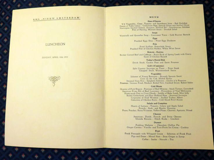 vintage cruise ship menus set of four holland america line
