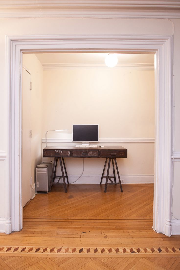 The Ultimate Small-Space Office Makeover #refinery29  http://www.refinery29.com/home-office-decor-tips#slide-1  Before:  A white, clean slate and an industrial desk were the starting points.