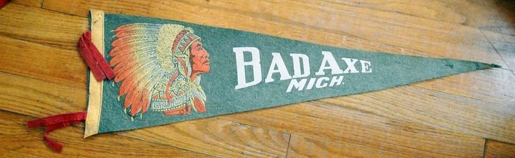 Vintage felt pennant, Bad Axe, Michigan