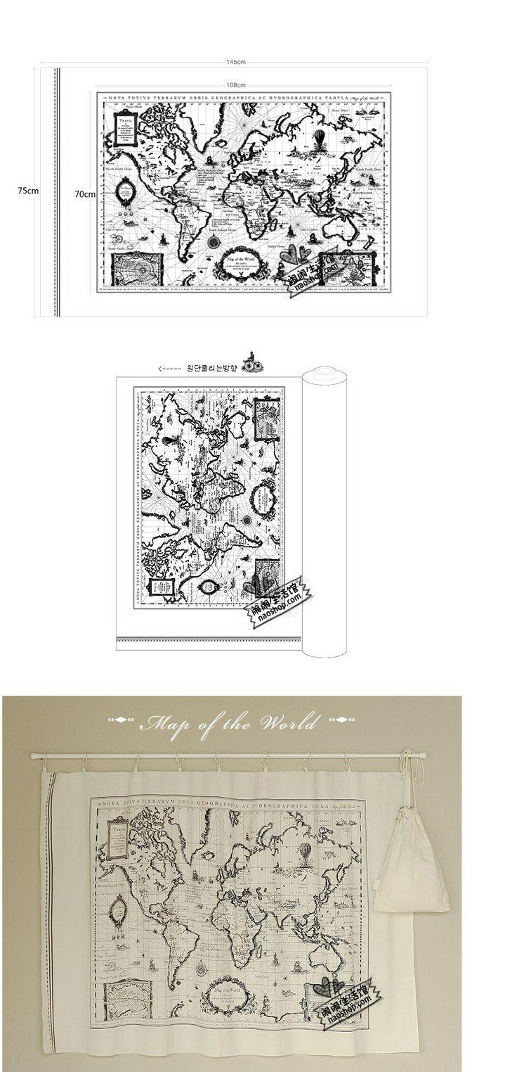 Бытовая льняные скатерти ручной работы занавес ткани диванные подушки - Карта мира 26 юаней / группу - Taobao