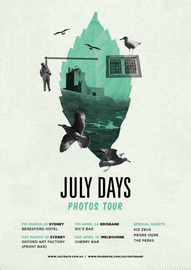 Tour poster for Melbourne band July Days. Designed by Fletcher Creative. #posters #bandposters #music