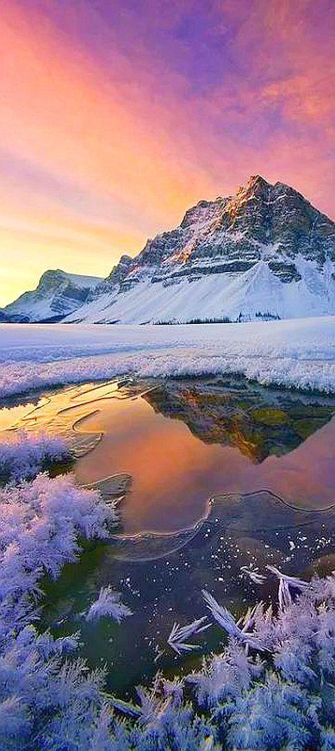 SUNSET / WINTER —- Canadian Rockies, Alberta #by by Marc Adamus on plus.google.com #snow ice mountain lake mirror reflection amazing landscape nature sky red orange yellow