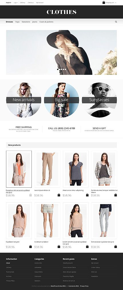 Template 47258 - Clothes Online Responsive Jigoshop Theme with Homepage Slider, Portfolio and Blog