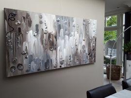 Botswana - 200 x 100 x 4,5: groot taupe abstract schilderij met dikke verf en structuur. In vergrijsde taupe-tinten (bruin, taupe, beige, grijs, wit, antraciet). Bij Taupe STUDIO in Den Bosch. Ook maatwerk.