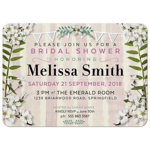 Apple blossoms bridal shower invitation.