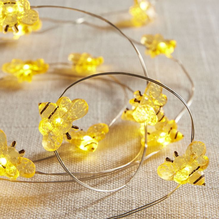 Bee 10 LED Glimmer Strings Yellow