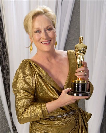 "2011 MERYL STREP  Best Actress Oscar winner for her performance in the film ""The Iron Lady"".  Three time Oscar winner, two for Best Actress 1982 and 2011, and one Best Supporting Actress in 1979 for her work in ""Kramer vs Kramer"".  Ms Streep has a record number of 18 Academy Award nominations.  She has also won 8 Golden Globe Awards out of 26 nominations."