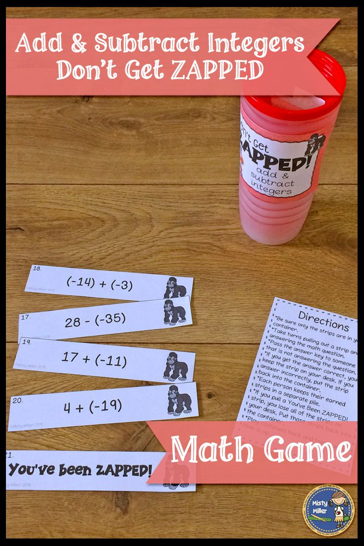 Review or practice adding integers and subtracting integers with this fun and engaging math game! A perfect math game for math centers or early finishers. Players try to hold on to their strips and not get ZAPPED. $ grade 6-8 #math #mathgame #mathcenter #integers #teacherspayteachers
