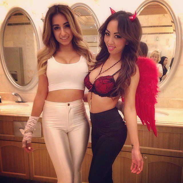 Naughty and nice Angel and Devil costumes