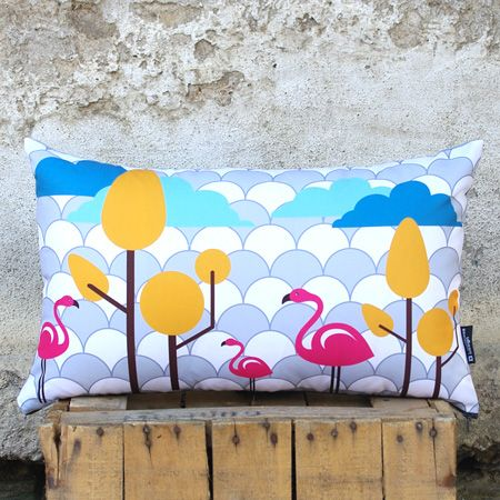 """""""Flamingo dance"""" Flamingo birds are dancing in front of the endless sky: this is the icon of this bold printed pillow. Add color and pleasant mood in your space. It can be mixed easily with other pillows' shape and dimension for endless combinations."""