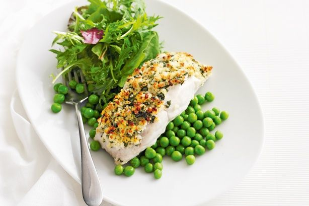 Serve this crunchy topped blue-eye fish with peas and green salad for a complete family meal. See notes section for Low FODMAP diet tip.