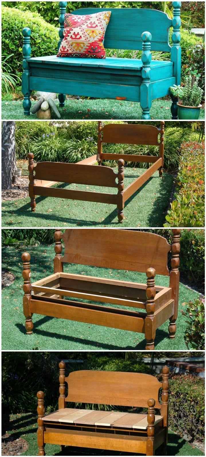 old vintage bed frame into cool garden bench