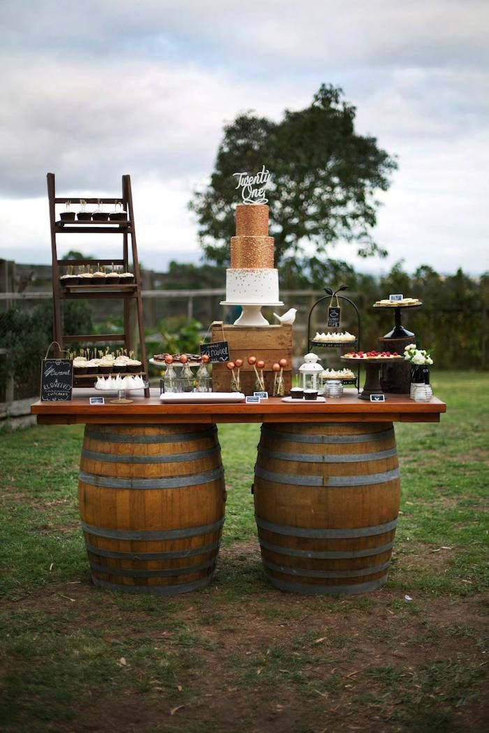 Rustic Gold and Bronze 21st Birthday Party with Such Great Ideas via Kara's Party Ideas | Cake, decor, cupcakes, games and more! KarasPartyI...