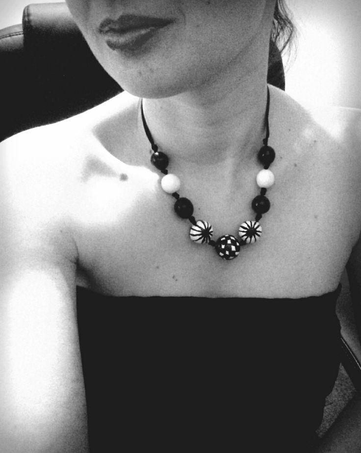 black & white, clay beads# margele lut