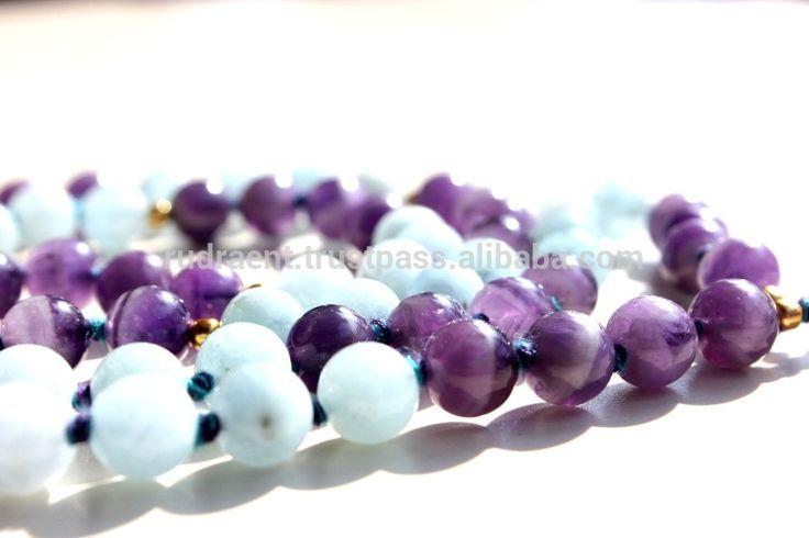 Aquamarine, Amethyst Gemstone Silk Tassel Yoga Mala Beads, 108 Round Knotted Beads Japa Mala Necklace