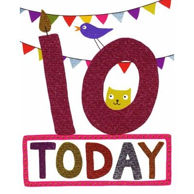 51 best childrens birthday cards images on pinterest anniversary a colourful 10th birthday card with a cat and a dog and a foil design bookmarktalkfo Gallery