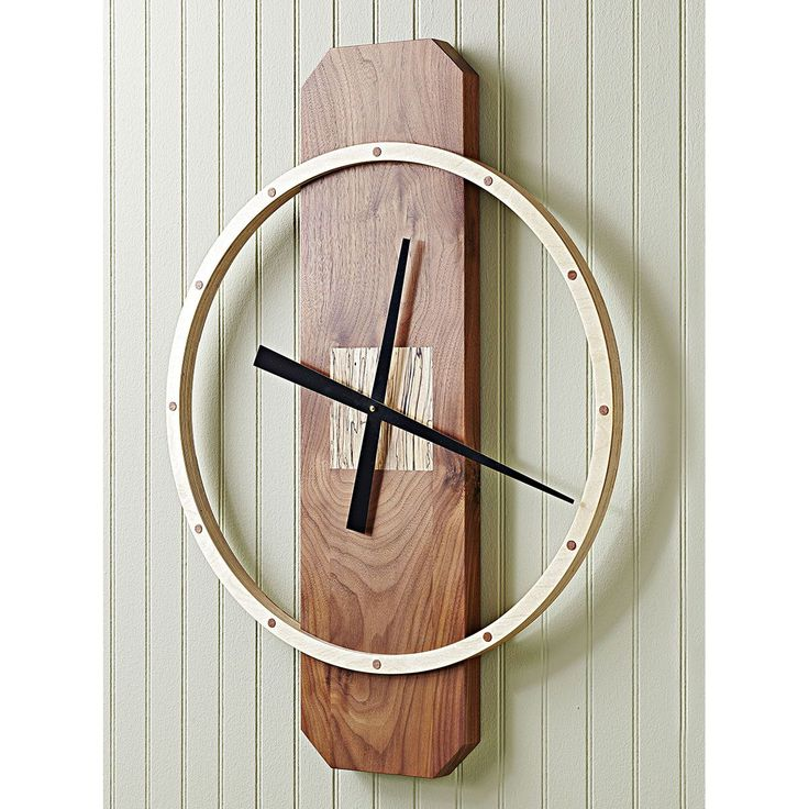 """Big-time wall clock woodworking plan. Build this 30""""-tall contemporary timepiece using basic tools and a nifty jig."""