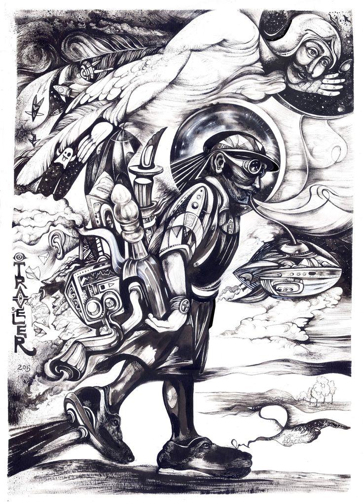 """""""Traveler"""" painting by Inga Burina, Ingart studio, Ink, paper #elementEdenArtsearch"""