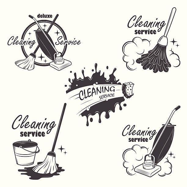 Набор услуг химчистки эмблемами, этикетки и дизайн элементов. векторная иллюстрация