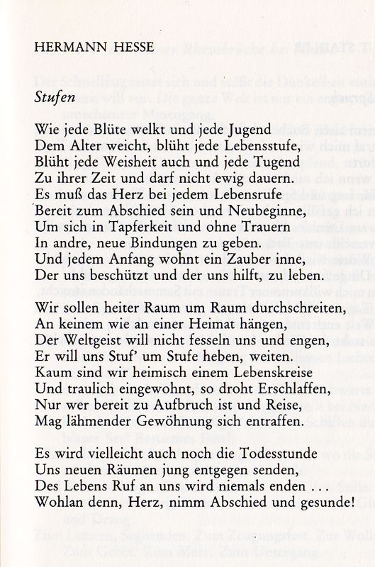 »stufen (steps)« by hermann hesse listen to hermann hesse reading his poem in german this is one of my all-time favorite poems – itR… – Antonia Trompeter