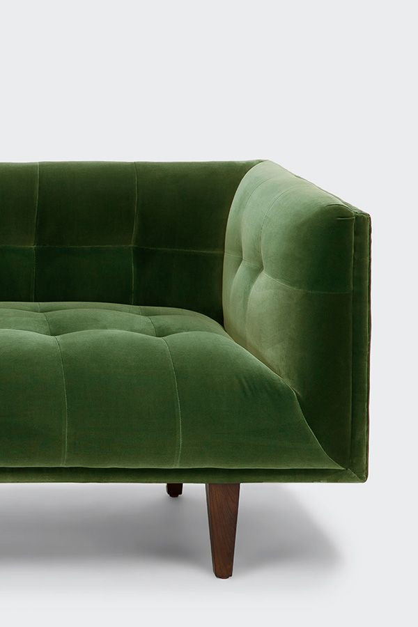 Green Velvet Sofa, Tufted, Wooden Legs | Article Cirrus Modern Furniture Photo Gallery
