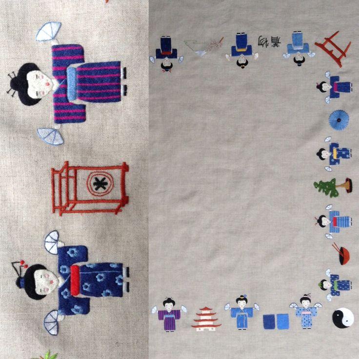 Coup d'œil de plus près sur les personnages (les petites japonaises) de la nouvelle nappe de Cécile Vessière.