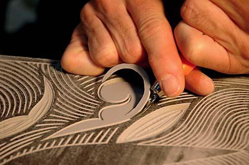 Linoleum carving - interesting art, presses and stamps...