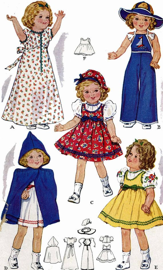 Vintage Doll Clothes PATTERN 525 for 16 inch by BlondiesSpot