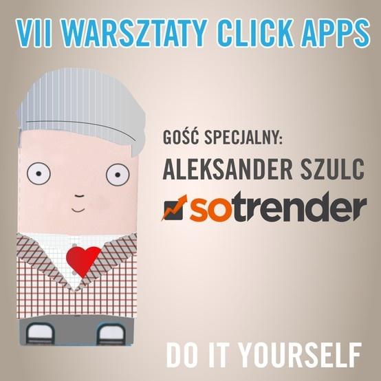 Zapraszamy twórców najciekawszych startup'ów! Jutro na warsztatach click apps pojawi się Aleksander Szulc z Sotrender. Dowiecie się, co można wycisnąć z mediów społecznościowych. Do zobaczenia o 9! https://www.facebook.com/events/459548540748194/