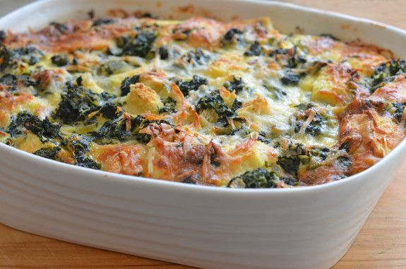 This elegant brunch strata -- really a savory bread pudding with spinach, cheese and cubes of bread baked in custard -- is perfect for entertaining.