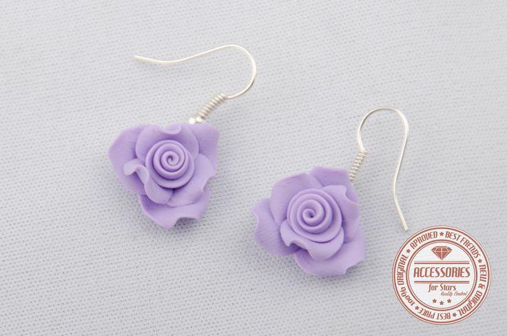 http://accessoriesforstars.blogspot.ro/ #rose #roses #purple #softpurple #powderpurple #earrings #polymer #accessoriesforstars