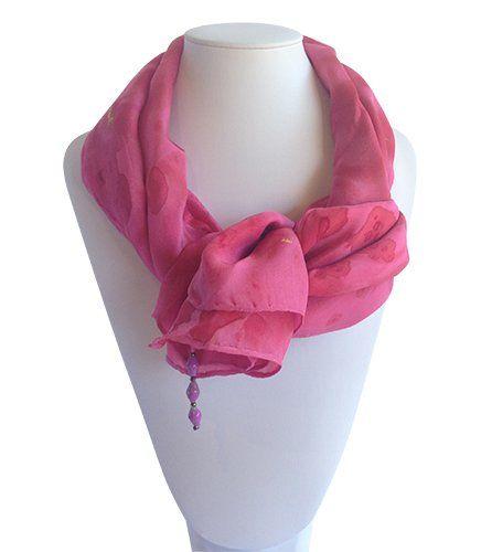 Pink & Gold Vege Dyed Silk Scarf | Indigo Heart - Fair Trade Fashion A$39.95