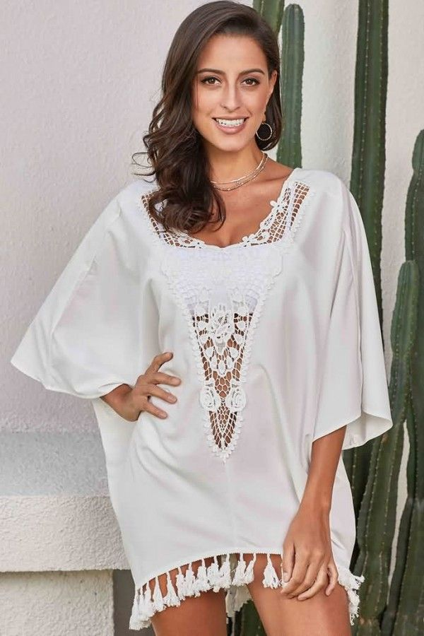 cb522de2a50 White Crochet Hollow Out Tassels Hem Casual Beach Dress Cover Up  058715   Cover  Up-Beach Cover Ups