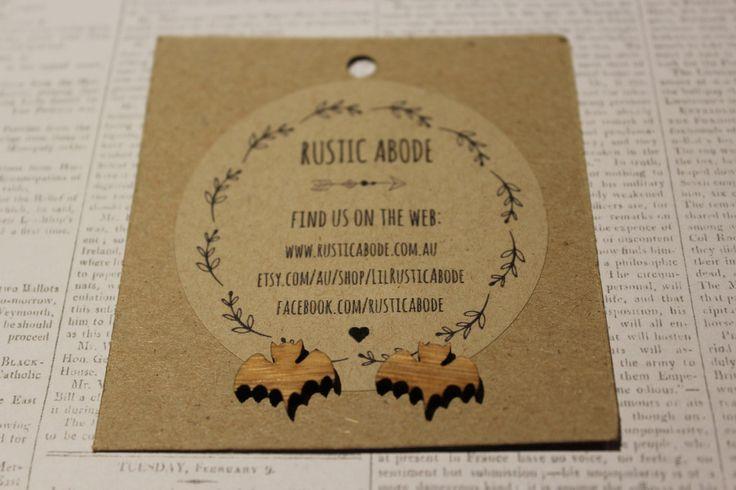 Handmade Wooden Laser Cut Stud Earrings ~ Bats
