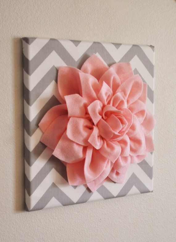 DIY Wall art..so cute!Diy Crafts, Girly Diy, Adorable Diy, Girls Room, Canvas, Diy Wall Art, Felt Flower, Wall Art Lov, Girl Rooms