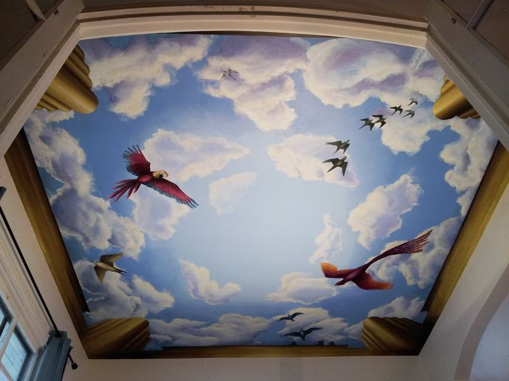 10 images about murals on the ceiling on pinterest for Ceiling cloud mural