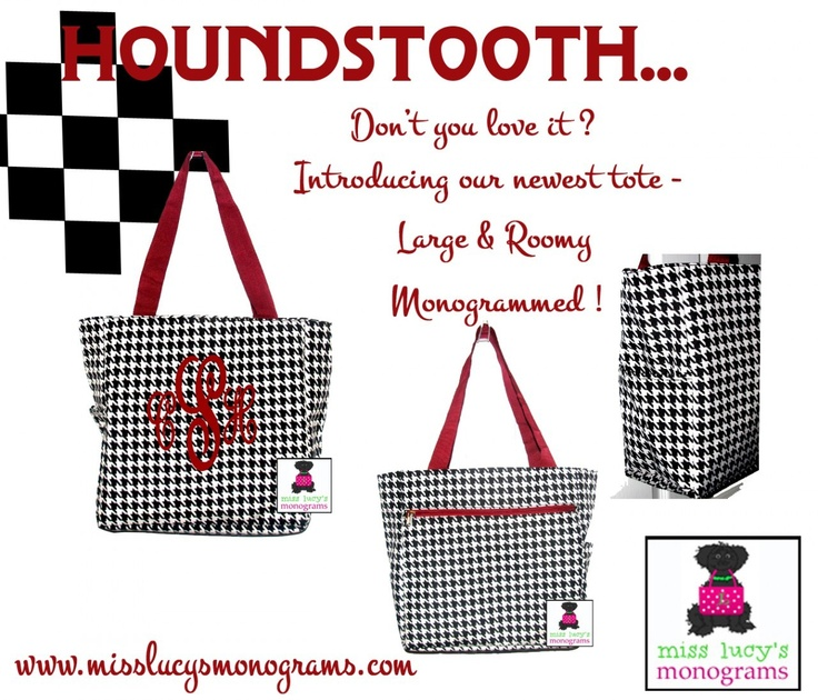 Black and White Houndstooth with Alabama Red Trim Large Canvas Tote - Miss Lucy's Monograms
