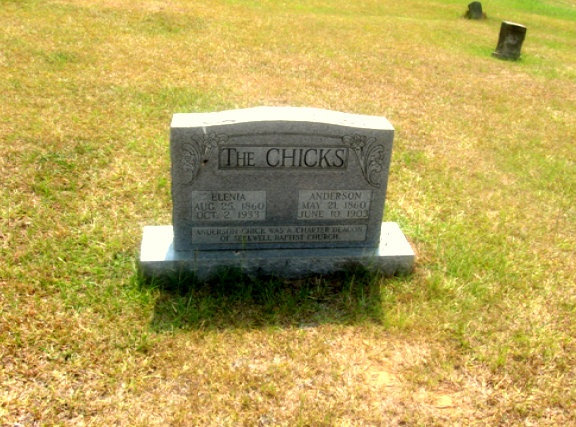 How do I find my ancestor's cemetery? #genealogy  Photo:  The grave of Anderson Chick (1860-1903) and Elena Coleman Chick (1860-1933), Seekwell Baptist Church in Maybinton, South Carolina http://www.robinsavingstories.com/2016/07/how-do-i-find-my-ancestors-cemetery.html