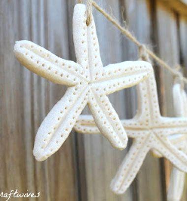 Salt-dough starfish garland - frugal summer decor (craft for kids) // Só-liszt gyurma tengeri csillagok - filléres nyári dekoráció // Mindy - craft tutorial collection
