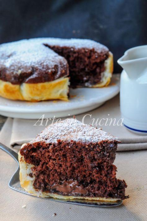 Torta con guscio di sfoglia al cioccolato e nutella vickyart arte in cucina
