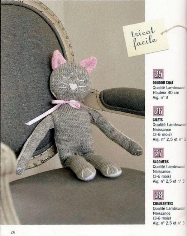 Doudou chat au tricot Free dl