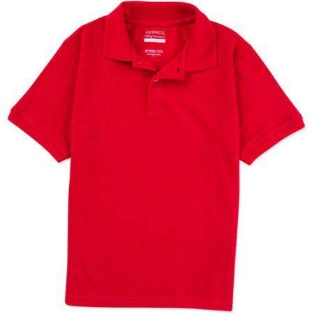 George Boys School Uniforms Husky Size Short Sleeve Polo Shirt, Red