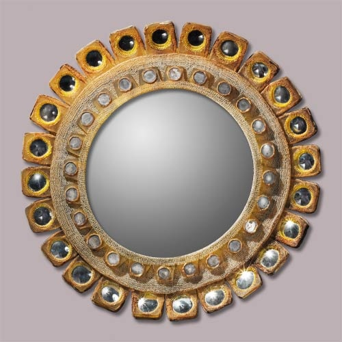 "This Line Vautrin mirror has an Aztec look to it, though I doubt that was intentional on her part. 335 mm or just over 13"" wide."