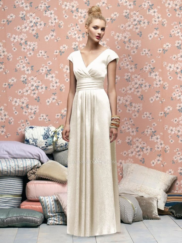Ivory Cap Sleeve V Neck Floor Length Glamour Satin Bridesmaid Dress 1 - Trends fashion and style 2015