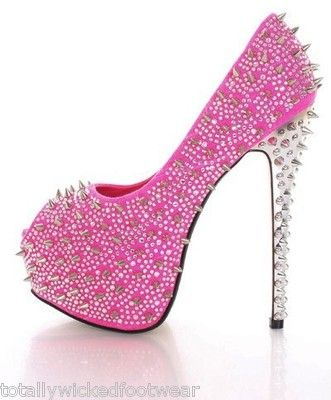 fbab36a02d83 Kiss Kouture Galaxy Neon Pink Spiked Rhinestone Platform Shoe Mirrored Heel
