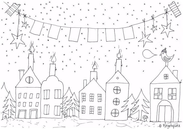 """Malvorlage / Ausmalbild """"Warten auf Weihnachten"""" / coloring sheet http://ringelspatz.blogspot.de/2013/12/malvorlage-warten-auf-weihnachten.html"""