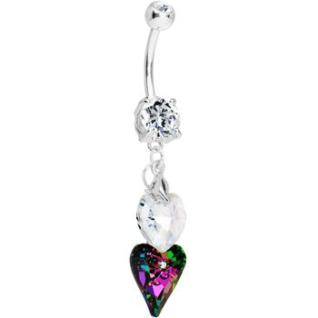 Handcrafted Volcano Crystal Falling Hearts Dangle Belly Ring | Body Candy Body Jewelry #bodycandy