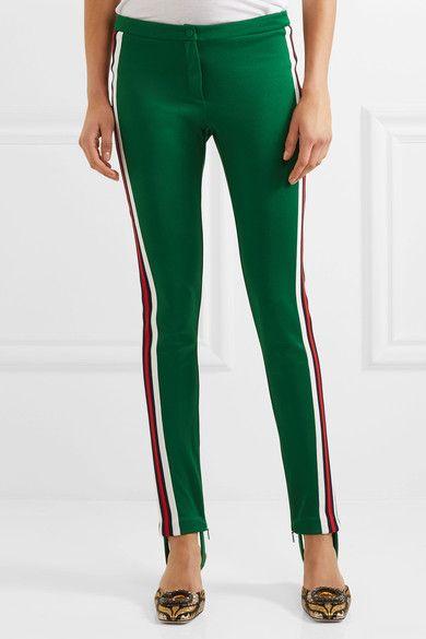 Gucci - Striped Jersey Leggings - Dark green - xx small