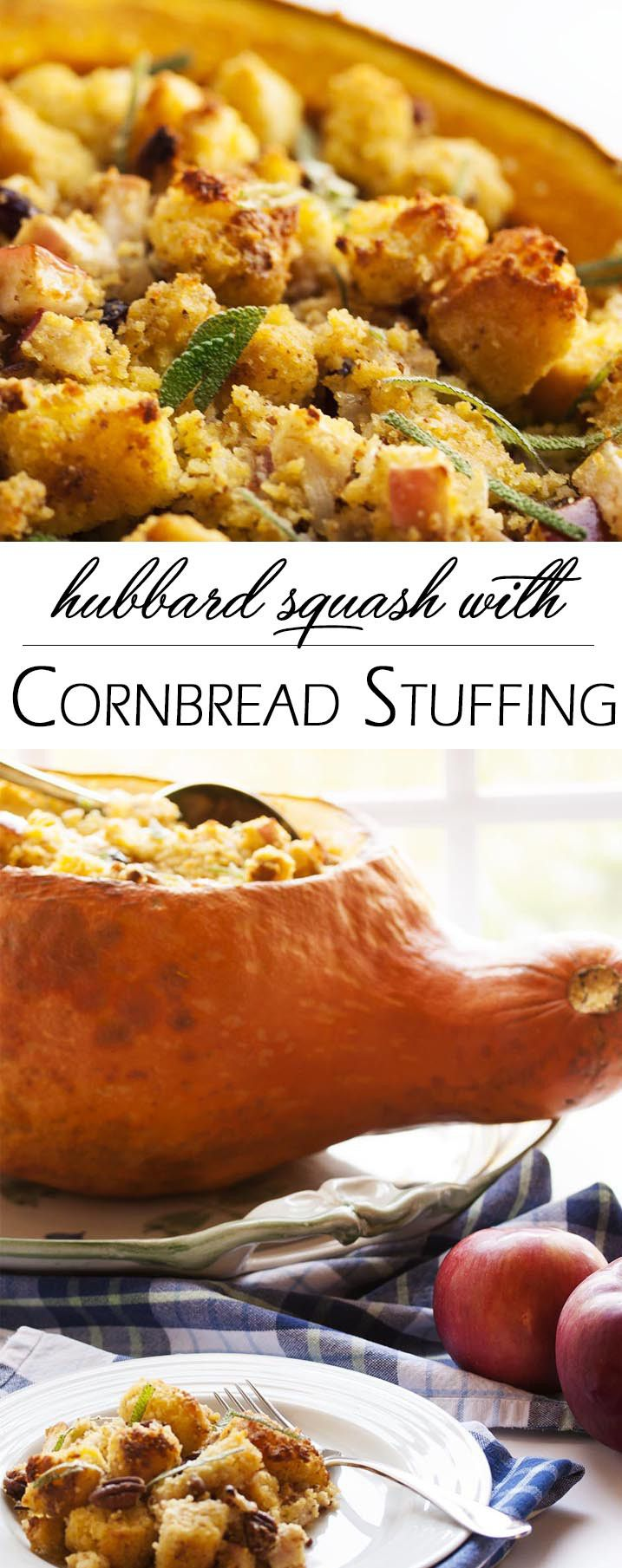 Hubbard Squash with Cornbread Stuffing - Looking for an impressive vegetarian centerpiece or side dish for your Thanksgiving table? Look no more! Filling a Hubbard squash with delicious cornbread stuf (Bake Squash Thanksgiving)